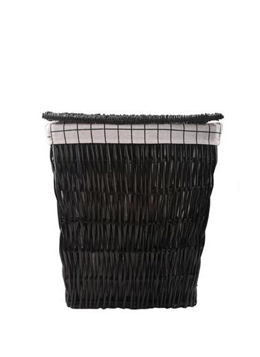 Sever Hasır Siyah Dikdörtgen Çamaşır Sepeti 54Cm Renkli